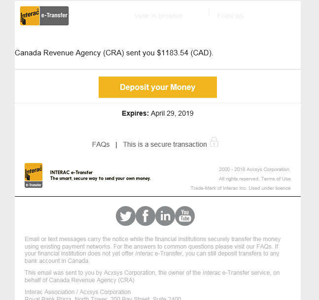 Another CRA Scam | Your Money Book